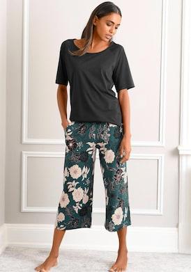 s.Oliver Capri-Pyjama - schwarz-dunkelgrün-gemustert