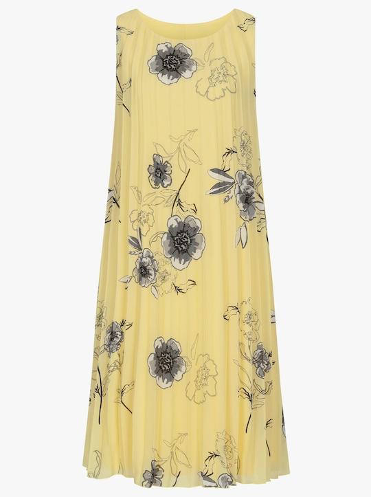 Fair Lady Plisseekleid - zitrone-grau-bedruckt