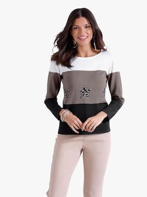 Pullover - schwarz-taupe-gestreift