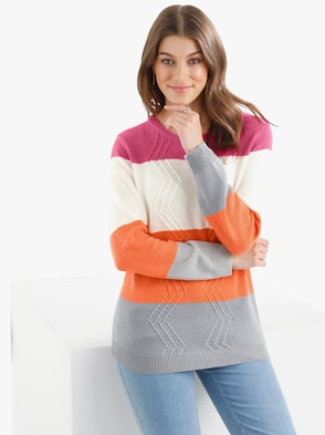 Pullover - orange-geringelt