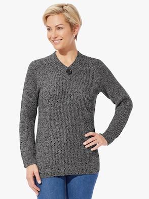 Pullover - schwarz-meliert
