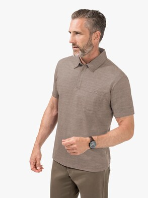 Kurzarm-Poloshirt - beige-gemustert