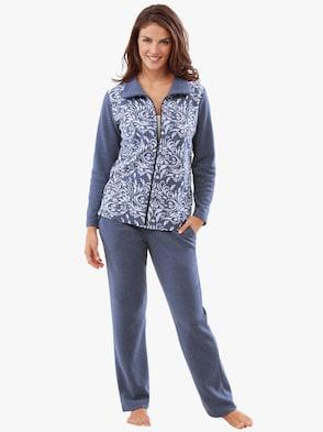 Hausanzug - jeansblau-gemustert