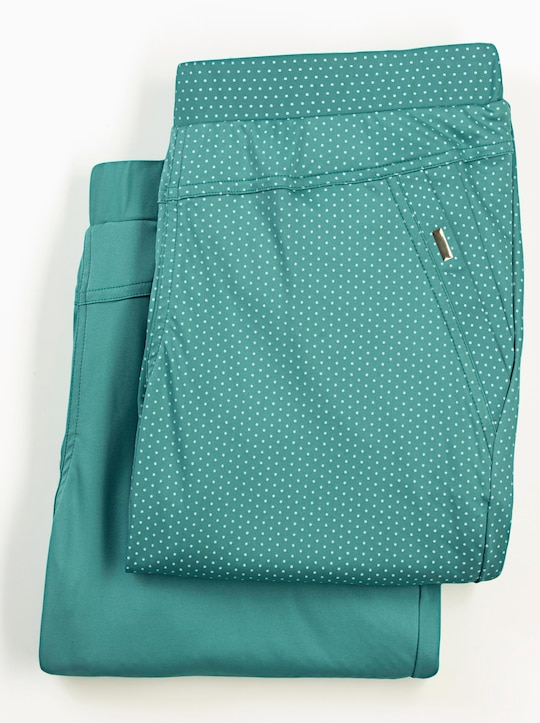 Doppelpack Hosen - smaragd + smaragd-getupft
