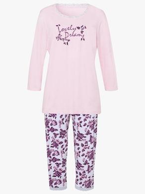 Capri-pyjama - roze/wit bedrukt
