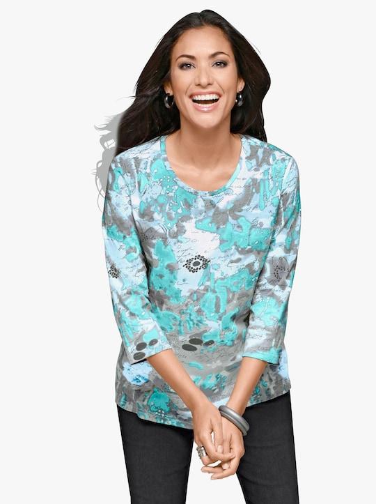 Shirt - turquoise gedessineerd