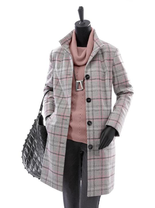 Karo-Mantel - grau-rosé-kariert