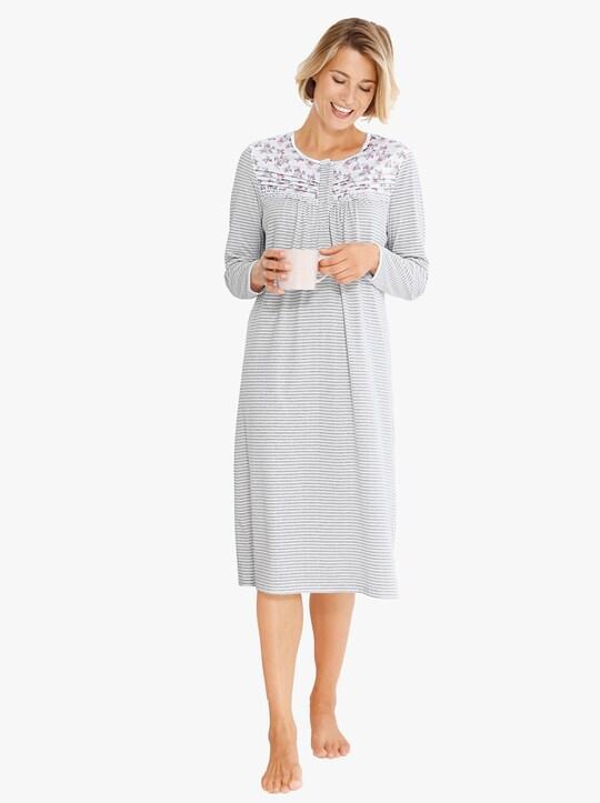 wäschepur Nachthemd - hellgrau-bedruckt