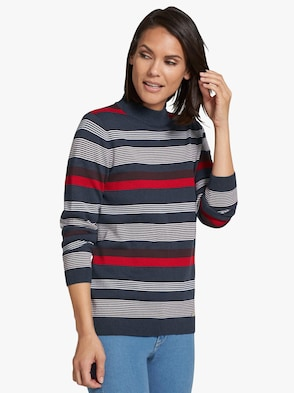 Pullover - marine-rot-geringelt