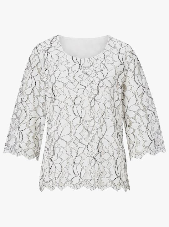 Fair Lady Shirt - weiß-schwarz-gemustert
