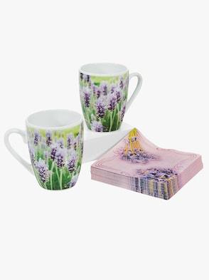 Set: Tassen und Servietten - lavendel-gemustert