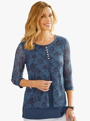 2-in-1-Shirt - dunkelblau-bedruckt