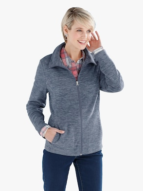 Fleece-Jacke - blau-meliert