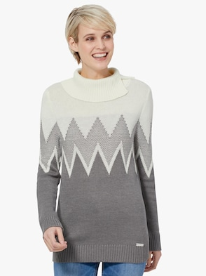 Pullover - anthrazit-ecru-gemustert