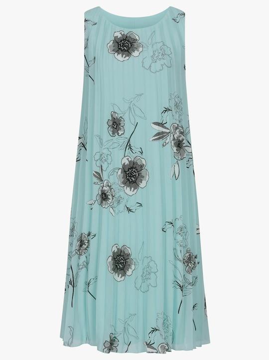Plisované šaty - Škoricovo-sivá potlač