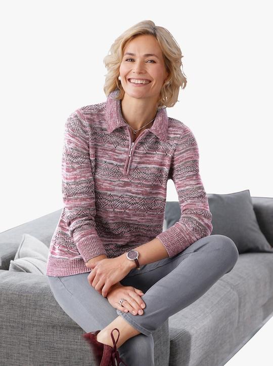 Pullover - roze gedessineerd