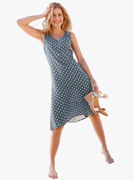 Kleid - blau-geblümt