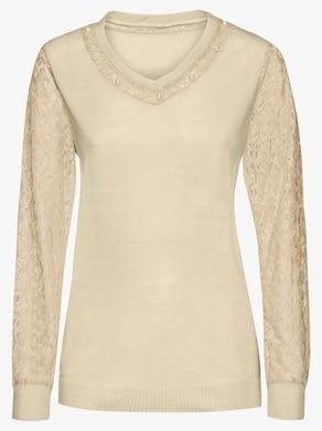 Spitzen-Pullover - ecru