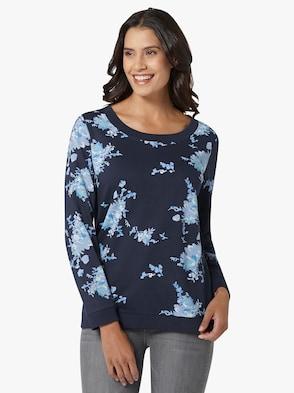 Sweatshirt - jeansblau-bedruckt