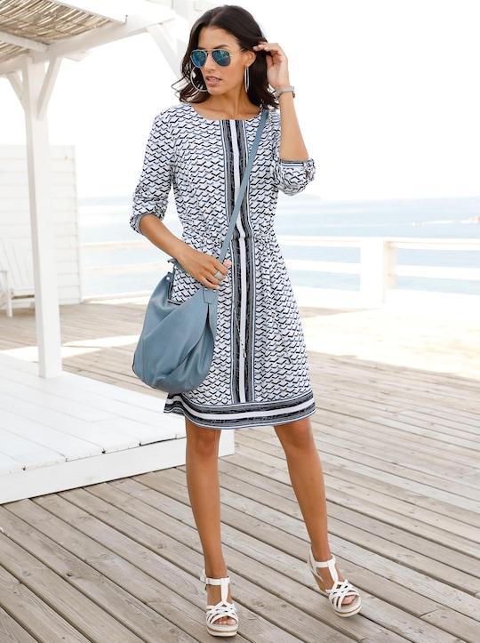 Kleid - blau-weiß-gemustert