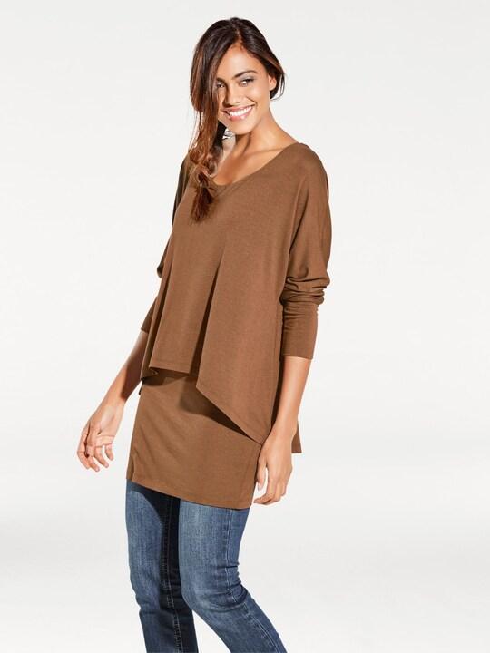 Linea Tesini Rundhals-Shirt - camel