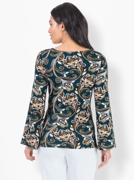 Bedrukt shirt - petrol/camel bedrukt