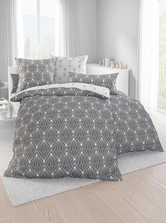 Dormisette Bettwäsche - grau-weiß-gemustert