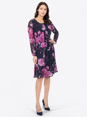 Kleid - marine-malve-bedruckt