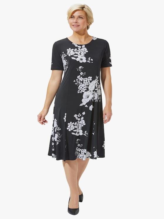 Jersey-Kleid - schwarz-geblümt