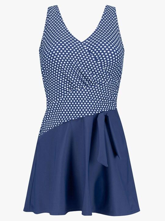 feel good Badeanzug - blau-weiß-getupft