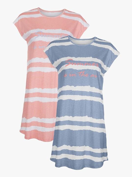 wäschepur Sleepshirts - bleu + apricot