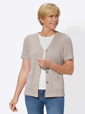 Shirtjacke - taupe-meliert