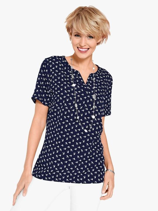 Comfortabele blouse - marine/wit