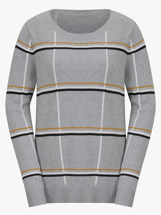 Pullover - grau-meliert-gemustert