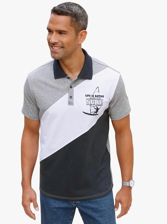 Poloshirt - grau-meliert-gemustert
