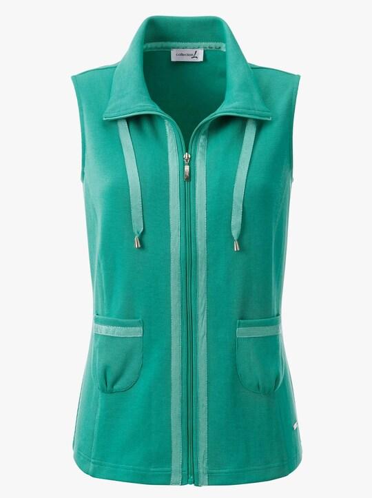 Úpletová vesta - smaragdovozelená