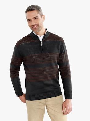 Pullover - anthrazit-meliert-rotbraun