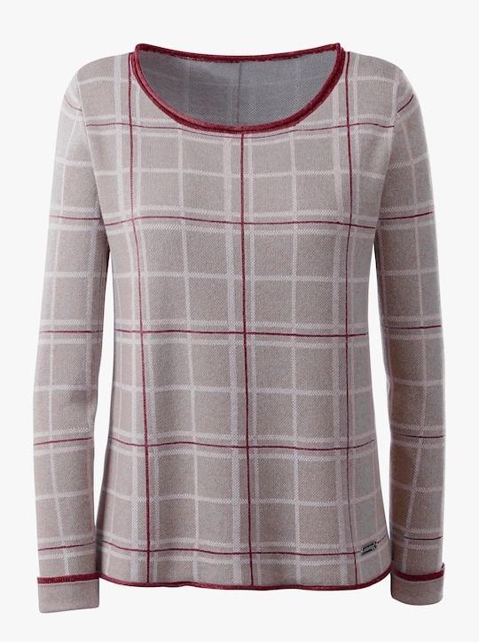 Collection L Pullover - grau-rot-kariert
