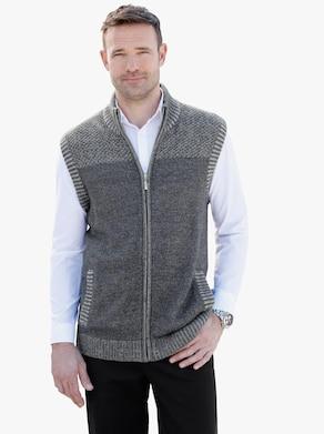 Pletená vesta - šedá-melír