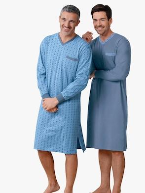 Nachthemden - blauw + blauw bedrukt