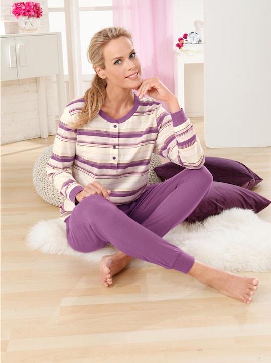 wäschepur Schlafanzug - lila-geringelt