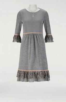 Linea Tesini Jersey-Kleid - grau-melange