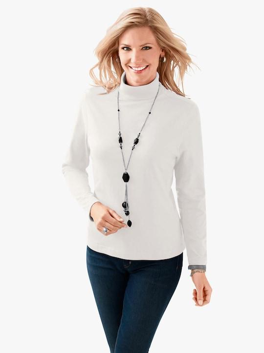 Tričko s rolákovým límcem - vlněná bílá