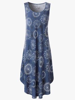 Kleid - rauchblau-graphit-bedruckt
