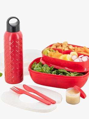 Lunchbox mit Trinkflasche - rot