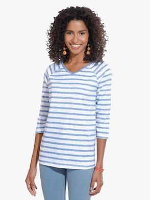Tričko - džínová modrá-proužek