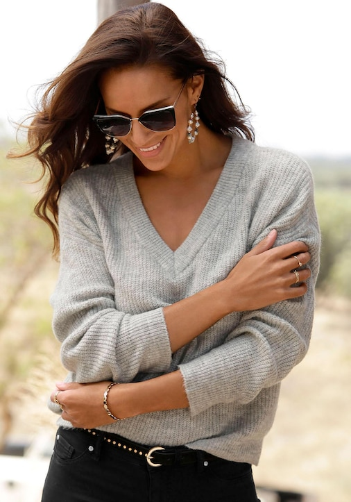 LASCANA V-Ausschnitt-Pullover - grau-meliert