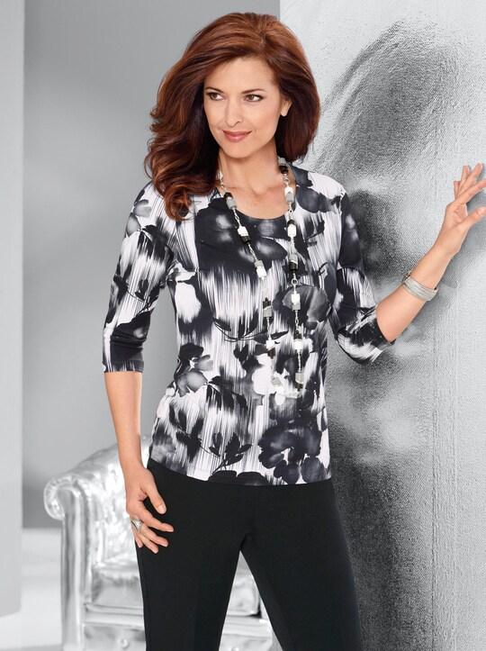 Shirt - schwarz-weiß-bedruckt