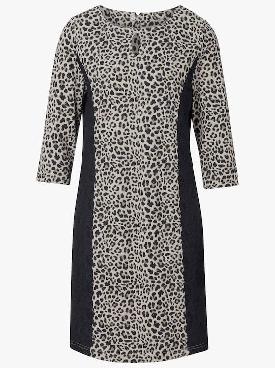 Jersey-Kleid - taupe-schwarz-bedruckt