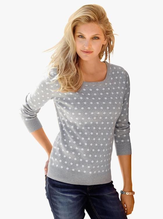 Pullover - grau-weiß-getupft